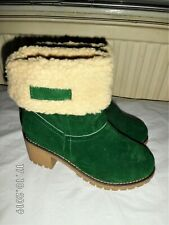 Green faux suede fleece lined Boots Size UK 6 EU 39 US 8
