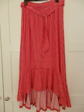 NEXT RED WHITE CHECK Gingham Gypsy Ruffle Skirt Size 10 Brand new with tags