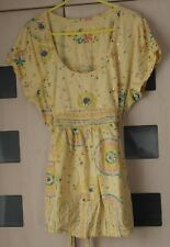 Evans Yellow Print Tunic Top Size 22 - 24. Tie Back . Sequins.  Good Condition