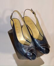 "Bruno Magli Navy Blue Leather Slingback Open Toe 2"" Heels Womens Shoes Size 8"