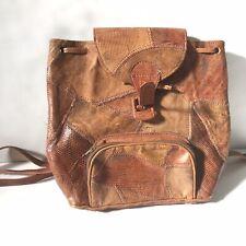 Vtg 80s Brown Leather Multi Snake Skin/Lizard Skin Shoulder Bag