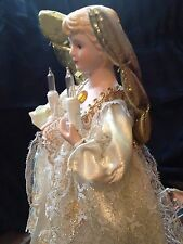 "VINTAGE 12"" 1994 LIGHTED PORCELAIN ANGEL TREE TOPPER Christmas GOLD LACE"