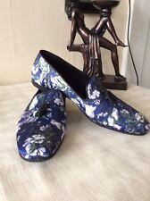 Para Hombre Asos 11 Impreso Floral Satén Boda Zapatos Cuero Formal Fiesta Slip Ons