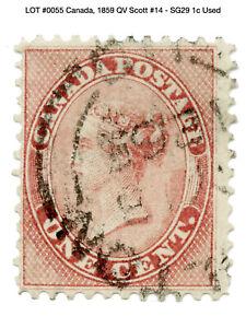 0055: Canada, 1859 QV Scott #14 - SG29 1c Used