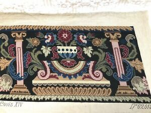 Vintage Needlepoint Bench Cover From French Pattern Loyis XIV