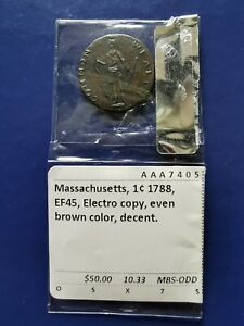 1788 US Massachusetts Cent Coin ( NOT ORIGINAL ) Please read the description .