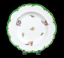 "OLD PARIS PORCELAIN GOLD & GREEN SCALLOPED PINK FLOWER 10"" RIM SOUP BOWL 1850-99"