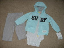 NEW Baby Boy Carters Surf 3pc Outfit Set Size NB Newborn 5-8 lbs Clothes NWT