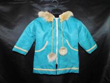 Loraiine Joe Yukon Alaska Native Kids M Parka Coat Blue Dog Sled Coyote Fur Hood