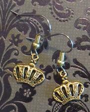 Crown Small Earrings 24 Karat Gold Plate Queen Tiara King Princess Prince