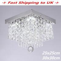 20W Modern LED K9 Crystal White Ceiling Light Living Home Bedroom Pendant Lamp