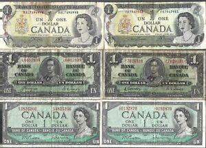 Canada 🎇 1937 1954 1973 🎇 KG VI & QE II Bank of Canada $1 x 6 Banknotes