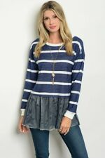 NEW CUTE JUNIOR'S BOUTIQUE Blue/white striped long sleeve mesh TOP sizes Small