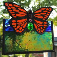 Stained Glass Window Panel monarch butterfly jewel green blue orange