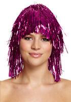 Purple Tinsel Wig - Costume Accessory Fancy Dress Metallic 70's 80's