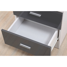 High Gloss Reflect 5 Drawer Chest - Quality Bedroom Furniture Gloss Grey / White
