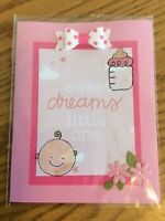 Baby Girl Card Pink Dot Bow Baby Bottle Cute Little Girl Handmade.