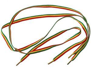 Paire de lacets plats - rasta jamaïcain - longueur 90cm  - rouge jaune & vert