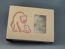"Baby Photo Album Royal Limited Silver Pink Bear 4"" x 6""  Felt Binding NEW"
