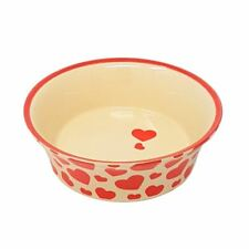 2 X FLARED RED CREAM LOVE HEARTS PORCELAIN CERAMIC PET DOG PUPPY WATER FOOD BOWL