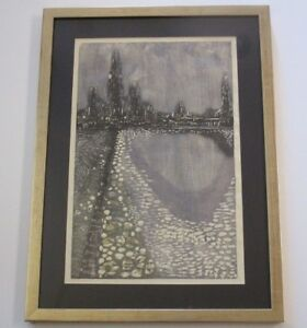 GEORGE SUYEOKA WOODCUT ABSTRACT EXPRESSIONISM  CITY LIGHT NIGHT CHICAGO MODERN