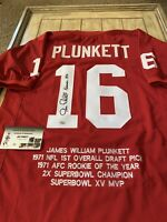 Jim Plunkett Autographed/Signed Jersey COA Stanford Cardinal Heisman Stats