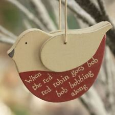 East of India Wooden Robin Hanging Christmas Decoration Twiggy Tree