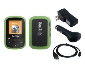 Black Charger Cable + Green Skin Case for Sandisk Sansa Clip Sport Plus SDMX28