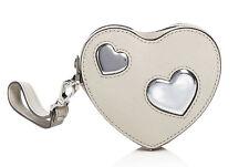 NWT Michael Kors Cement Silver Peek A Boo Leather Heart Coin Purse Wristlet