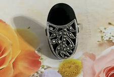 Sterling Silver 925 TH Vintage Black Onix & Marcasite Ring #6