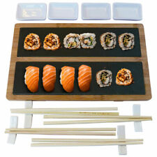 Set Sushi Cibo Giapponese 4 Persone Bacchette Legno Ciotole Vassoio Ardesia 13pz