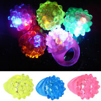 24PCS Strawberry Jelly Bumpy Rings Flashing LED Bubble Rave Party Favor Blinking