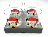 NEW Disney Retro Vintage Kitsch Style Christmas Mickey Mouse 4 x Glass Glasses