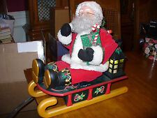 Holiday Creations Santa & Sled Sleigh Lighted Animated Christmas Motionette