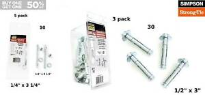 """Concrete Sleeve Anchor 1/2"""" x 3"""" HH Simpson Strong-Tie Zinc Plated 3 pack (30)"""