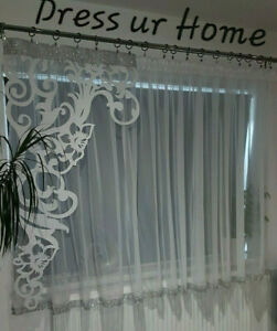 ZIRCONS Contemporary Modern Voile Net Curtains Felt Panel diamate border