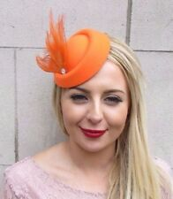e05008cca81ef Orange Silver Feather Pillbox Hat Hair Fascinator Races Wedding Clip Vtg  3968