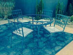 "Vintage Brown Jordan Patio Dining Set ""Atrium"" Indoor/Outdoor Mid-Century Modern"