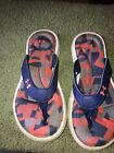 Under Armour toe thong sandals girls  1Y Blue 4D Footbed Digital Camo Print