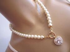 STRASS Collier Damen Hals Kette Modekette kurz Perlen Weiss Gold Herz Bling x887
