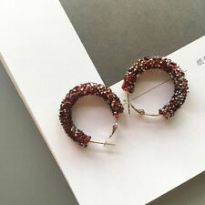 New Jewelry Elegant Women Round Hoop Rhinestone Dangle Hook Ear Stud Earrings