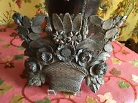 French Architectural Wood Fragment 19th Century Hand Carved Floral Bouquet