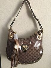 NWT  Authentic  Gucci Beige Ebony Crystal GG Babouska Hobo Bag