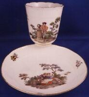 Antique 18thC Meissen Porcelain Teniers Scene Cup Saucer Porzellan Scenic Tasse