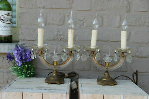 PAIR antique murano Girandole Crystal glass pendants drops lamps