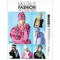 McCalls Sewing Pattern 4681 Misses Hats Scarves Convertible Mittens One Size UC