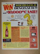 1962 Dr Pepper Johnny Hart Solid Gold Dinosaur Contest vintage print Ad