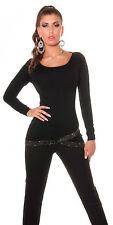 Sexy Pulli Pullover Shirt mit Strass Strassbund asymmetrisch 34 36 38 Schwarz