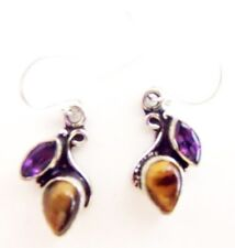 ED30 SASSY TIGER EYE & AMETHYST STERLING SILVER 925 DANGLE EARRINGS