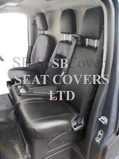 TO FIT A FORD TRANSIT CUSTOM VAN SEAT COVERS - SPORT, EBONY BLACK LEATHERETTE